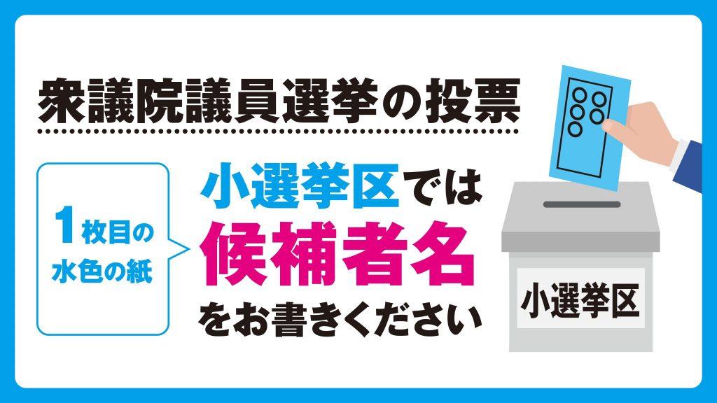 衆議院選挙の投票 小選挙区では候補者名をお書きください